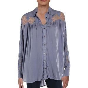 Free People Katie Bird Lace Inset Collared Shirt